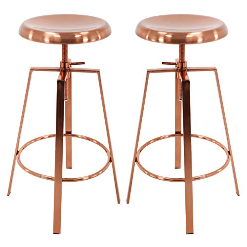 Brage Living 4-Legged Rose Gold Backless Metal Round Seat Adjustable Height Bar Stools with Footrest...
