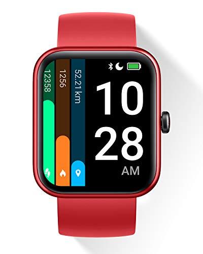 """DOOGEE CS2 Pro Smartwatch, 1.69"""" Reloj Inteligente para Hombre Mujer con Alexa Integrada, Oxígeno En Sangre, Pulsómetro, Monitor de Sueño, Reloj Deportivo ip68 Impermeable con 14 Modos Deporte, Rojo"""