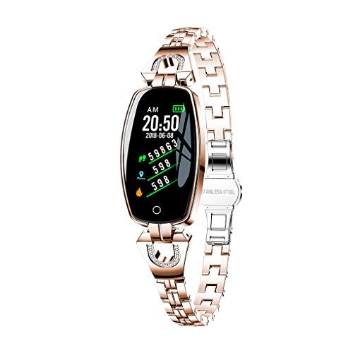 wufeng Frauen H8-Uhr Bluetooth Herzfrequenzuhr Frauen H8 Blutdruck Fitness Tracker Multifunktions-wasserdichte Uhr, Gold