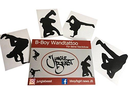 Jungle Beast 4er Set Breakdance Wandtattoo für Steckdosen und Lichtschalter I Stylische Break dance Aufkleber fürs Kinderzimmer Hip Hop tanzen I Bboy Wandtatoo Jungen für Kinder