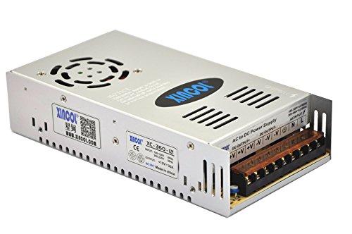 XINCOL 12V 30A 360W Transformador de Potencia, Transformador de Voltaje, Fuente de Alimentación para la Tira de LED