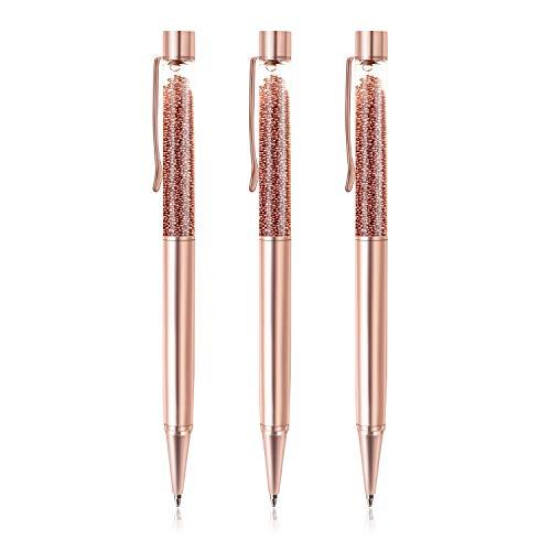 ZZTX 3 Pcs Rose Gold Ballpoint Pens Metal Pen Bling Rose Gold Dynamic Liquid Caviar Pen With Refills Black Ink Office Supplies Gift Pens For Christmas Wedding Birthday