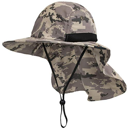 SUN CUBE Mens Fishing Hat with Neck Flap for Men   Sun Hat with Wide Brim for Hiking Safari with Neck Cover for Outdoor Sun Protection UPF50+   Camo Gray