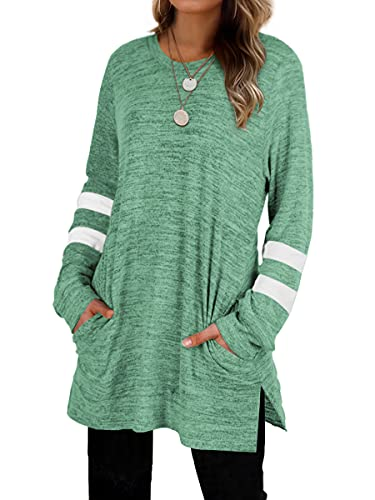 Cute Sweatshirts For Women Fall Clothes Womens Tunic Tops Casual Sweaters Green M