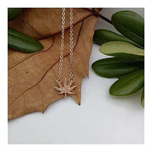 chenran Gift Elfin Trendy Weed Leaf Necklaces Gold Color Silver Color Nature Jewellery Clover Pendant Necklaces Women Jewellery Accessories (Color : 45cm, Size : Rose Gold Color)