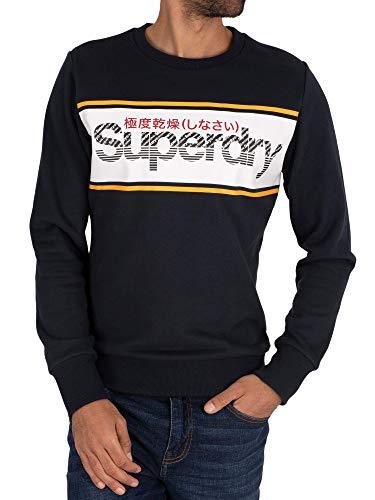 Superdry de los Hombres Sudadera Core Logo Stripe, Azul
