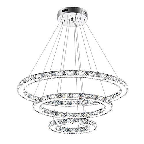 SAILUN 72W LED Dimmbar Kristall Design Hängelampe Drei Ringe Deckenlampe Pendelleuchte Kreative Kronleuchter Lüster (72W Dimmbar)