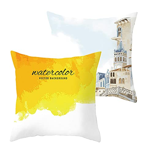 2 pcs Fundas de Cojín Decorativos Amarillo Cuadradas Terciopelo Suave Funda de Almohada Cubierta para Cojines Sofá Sala de Estar Dormitorio Habitación Decor Throw Pillow Case J2054 Pillowcase_45x45cm