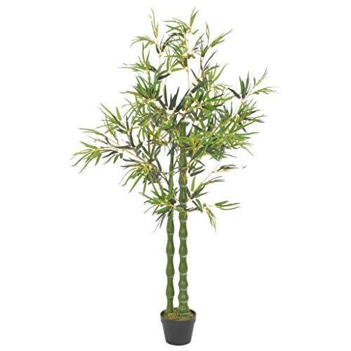 Festnight Planta Artificial Bambú con Macetero Verde y Marrón 160 Cm de Plástico y Poliéster