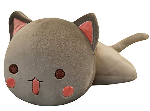 Wgxzyq 10Inch Mini Kitten Plush Pillow with Pink Bow, Cute Cat Stuffed Animal Toy Gift for Kids Girlfriend (Grey Open Eyes)