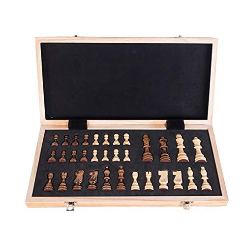 Roeam Schachspiel Holz, Tragbares Magnetisch Schachbrett Faltendes Internationales Schach Set für Parte Familien Aktivitäten, 40 × 40 × 2,5 cm