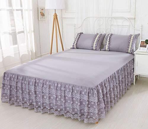 Klassisches Bettlaken,rutschfeste Tagesdecke aus Spitze, Simmons Schutzhülle-grau_150 * 200cm,Boxspringbett Spannbettlaken
