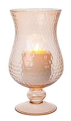 Luna Bazaar Large Glass Hurricane Pillar Candle Holder (5x10-inch, Abigail Design, Vintage Pink) - Elegant Flower Vase Centerpiece Decor for Home Weddings Parties Events, Ideal Housewarming Gift from Luna Bazaar