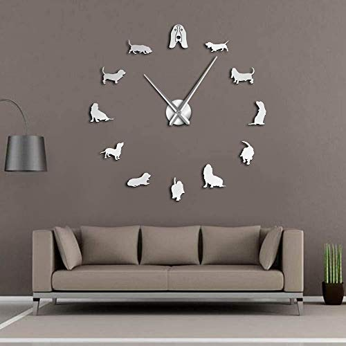 Wandklok DIY muur decoratie huisdier winkel hond rassen grote bel Basset Hound muur decoratie DIY grote muur klok Sartre klok Sticker 3D Decor-47inch zilver