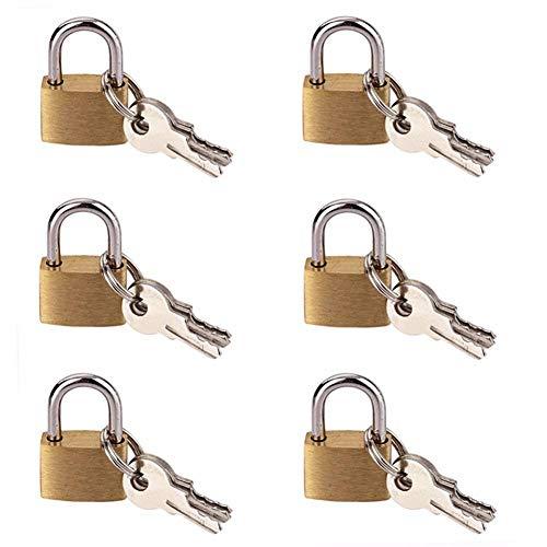 Vorhängeschlösser 6 Pcs 20Mm Kleines Metall-Vorhängeschloss Mini Messing Winziges Schloss Reisegepäck Koffer Tasche Vorhängeschlösser Mit 3 Schlüsseln
