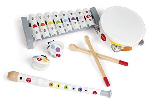 Janod - Set Musical 4 Instruments en Bois Confetti - Instrument de Musique Enfant - Jouet d'Imitation et d'Éveil Musical - Dès 2 Ans, J07600