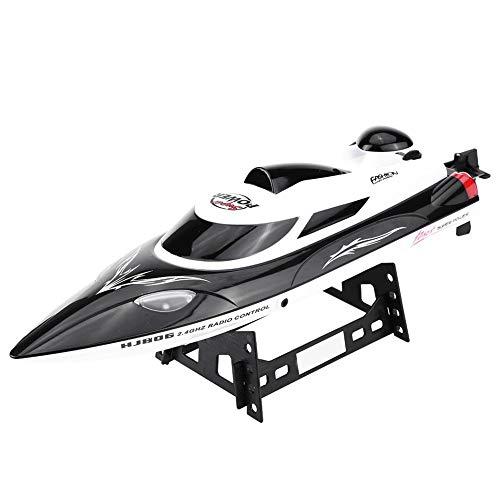 Barca di velocità di RC, HJ806 2.4 GHz Barche da Regata Telecomando a Distanza da 200m, 540 Motore e Indicatore di Distanza Funzione di Ribaltamento Automatico(Nero)