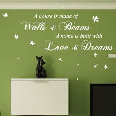 wall sticker studio Stickers muraux avec Citation « A House is Made of Briques and Beams », 2 Couleurs, Small