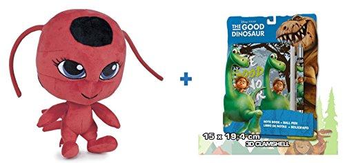 BE MIRACULOUS Prodigiosa: Las aventuras de Ladybug: Peluche TIKKI 27cm + Set de papelería El viaje de Arlo.