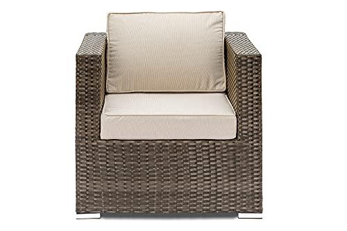 Stand Alone Cube- Modular Rattan Garden Furniture - Mix Brown or Natural Tan Rattan, Cushions Cream or Grey
