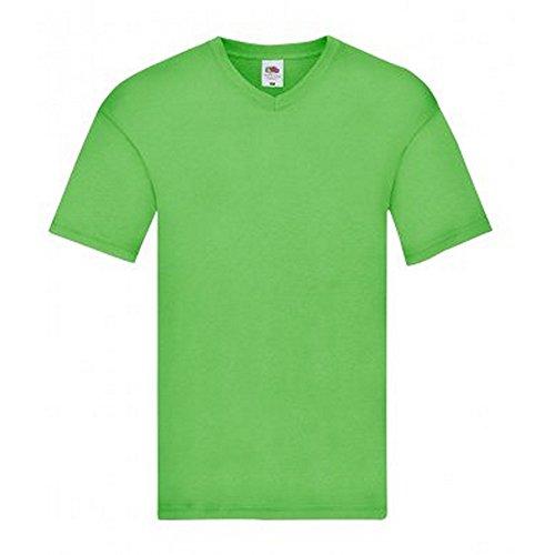 Fruit of the Loom Mens Original V Neck T-Shirt (Large) (Lime)