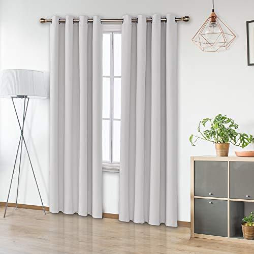 Amazon Brand - Umi Tende Oscuranti Termiche Isolanti con Occhielli per Casa Moderna 140x280cm Bianco Grigiastro 2 Pezzi