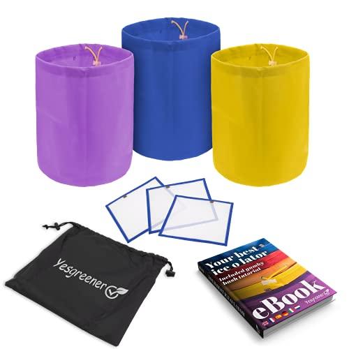 YesgreenerTM✮ Marca francesa – Bolsa Ice O Lator 20 L | Lote de 3 + 3 tamies de secado | Incluye libro electrónico | Ice O Lator Bag & Bubble Bag | Bolsa de extracción de alta calidad