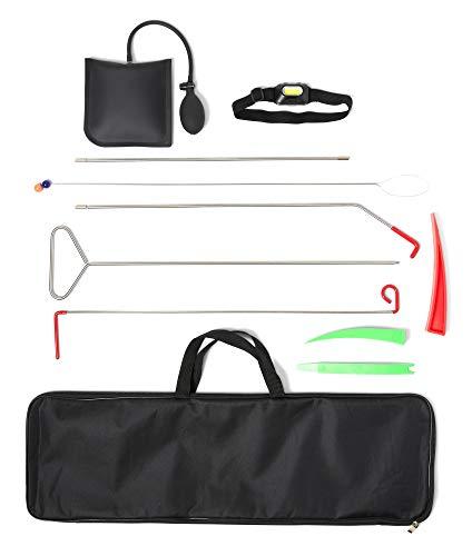 Top Product International Emergency Car Lockout Kit - 11 Pieces - Window, Door Accessories - LED Headlight, Air Pump, Grabber Rod - Roadside Essentials Kit - Carrying Bag