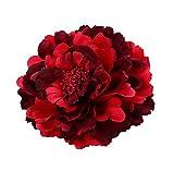 Cheerlife 2 Stück Frauen Baby Mädchen Kinder Blumen Ansteckblume Haarblume Haarspangen Set Schleife Haarschmuck Pfingstrose Weinrot