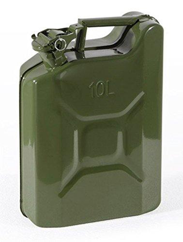 VERDELOOK Tanica in Metallo Verde per Carburante, capienza 10 Litri, Omologata Un