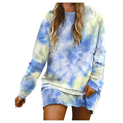 Fantastic Deal! AHUIGOYCE Women Casual Loose Long Sleeve Slim Fit Pullover Tie Sweatshirt Mini Dress...