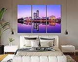 3 Piezas De Pared Fotos Cuadros En Lienzo Reflejo de espejo en el agua ciudad de Jeddah Púrpura abstracta Lonas Hd Imprimir Modern Enmarcado De Madera Estirada Artwork Decoración De Pared Living Room