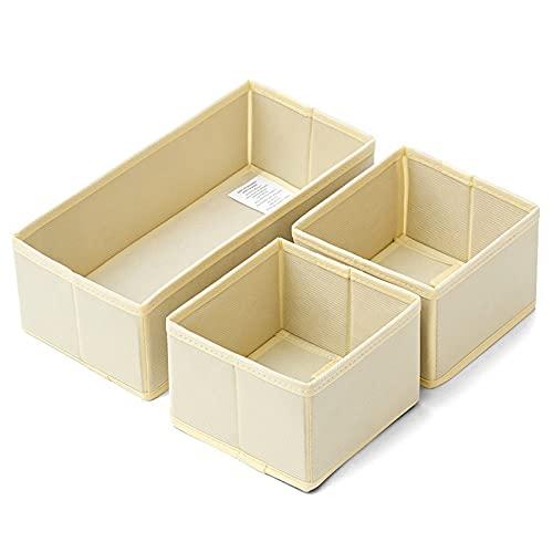 Umefly 3 stycken lådor arrangör förvaringslåda tyg, lådinlägg, vikbar skåp förvaringslådor för BHS underkläder strumpor slips, (beige)