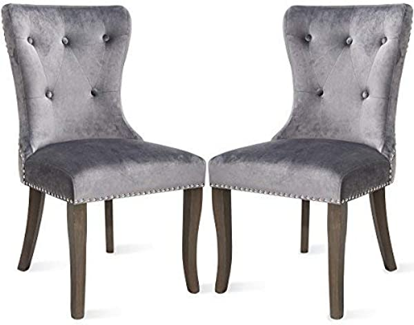 Dining Chairs Set Of 2 Upholstered Accent Chair Button Tufted Armless Chair With Nailhead Trim And Back Ring Pull Velvet Grey