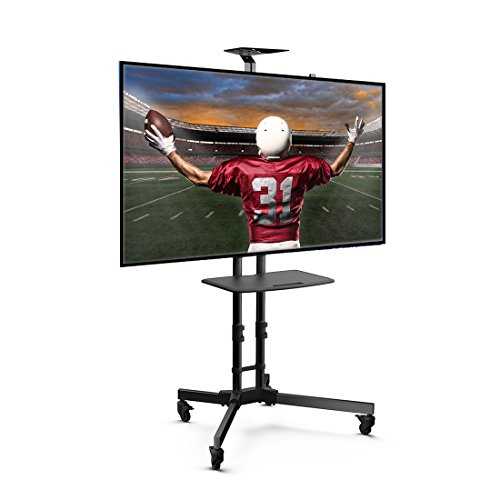 Loctek P3B Universal Mobile TV Stand TV Cart with Height Adjustable Shelf and Flat Screen Mount – Fits 32 to 65 inches LED, LCD TVs with Max VESA Sized 600x400mm