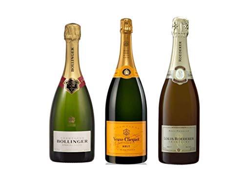 Pack Mysecretwine Champagne Premium. 1 Bollinger, 1 Veuve Clicquot y 1 Louis Roederer