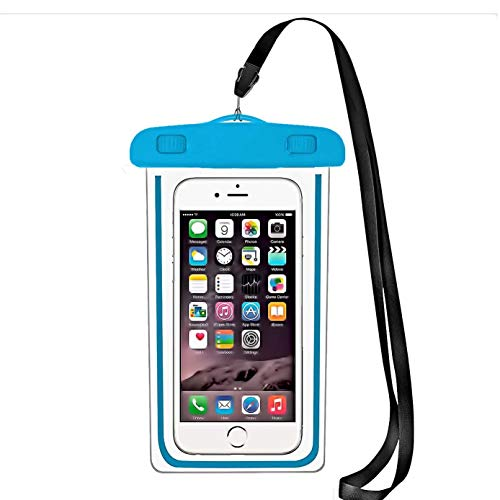 1 Pack iBarbe Compatible with Universal Cell Phone Dry Bag Pouch Underwater Cover for iPhone 12 Mini 11 Pro MAX XS Xs/XR/XS Max/8/7/7 Plus/6S/6/6S Plus, Galaxy S9/S8/S8 Plus/Note 8,Blue