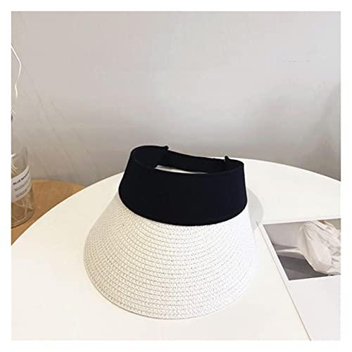 CDDKJDS Cinta Mágica Mujer Sombrero De Paja Vacío Top De Verano Sombrero Sol Protección Al Aire Libre Deportes Pesca Playa Pala (Color : White, Size : One Size)