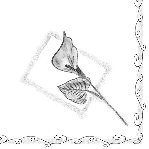 Mank Airlaid-Servietten 33x33 cm | Premium Einweg-Serviette | textilähnlich und saugstark | perfekt für Trauerfeiern | 50 Stück | Trauer in Schwarz-Weiß