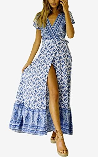 ECOWISH Damen Kleider Boho Sommerkleid V-Ausschnitt Maxikleid Kurzarm Strandkleid Lang mit Schlitz Hellblau L