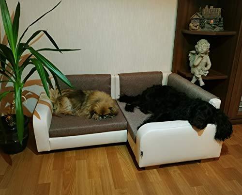 Jaukumo Vizija Thor - hundebett Couch, Ecksofa für Hund, Katze, Farbe, Creme, Kunstleder, Handmade (Creme)