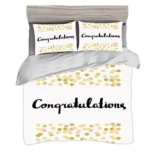 Juego de funda nórdica (220 x 240 cm) con 2 fundas de almohada Decoración de la graduación Ropa de cama con impresión digital Felicitaciones Caligrafía Confeti Dorado Figuras Marco Celebración, Multic
