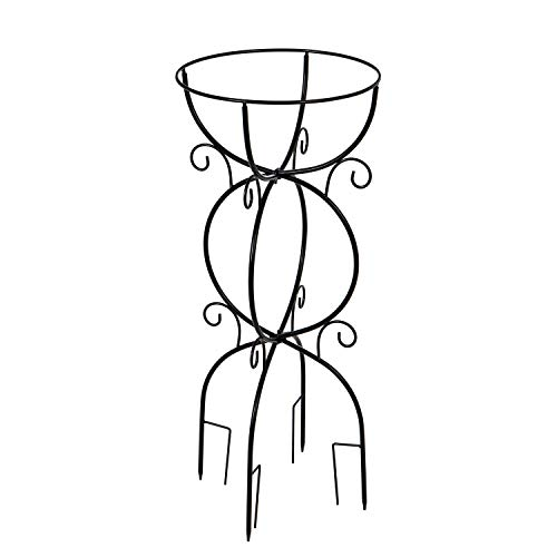 Evergreen Garden Beautiful Summer Scroll Metal Trellis Bird Bath Stand - 14 x 13 x 36 Inches Fade and Weather Resistant Outdoor Decoration for Homes, Yards and Gardens