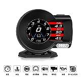 iKiKin 車用 スピードメーター ヘッドアップディスプレイ HUD OBD2 DC12V タコメーター LEDスクリーン 多機能デジタルメーター 6つのディスプレイモード 水温計 電圧表示 速度計 過速度警告搭載 F8
