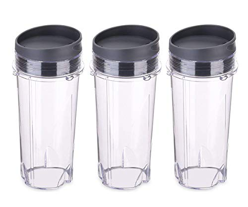 Replacement Part for Nutri Ninja Blender,16 oz Cup with 3 Sip Lids for BL770 BL780 BL660 All Pro 4 Tab Blenders (Pack of 3)