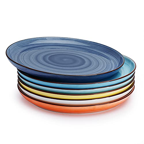 Sweese 164.002 Porcelain Round Dinner Plates - 10 Inch - Set of 6, Hot Assorted Colors