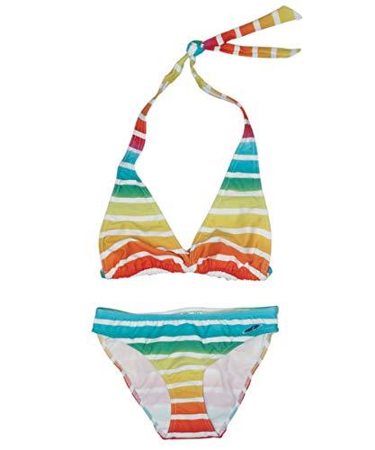 Fashy Mädchen Bikini weiß mit mehrfarbigen Streifen (128)