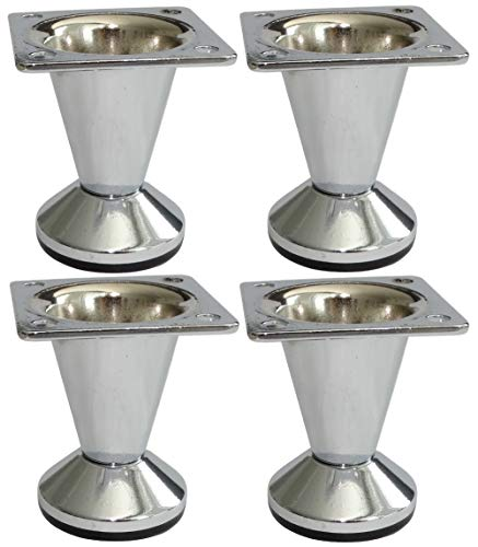 Aerzetix: 4 x Möbelfüße verstellbar verchromt Durchmesser 33 cm Höhe 50 mm C42512