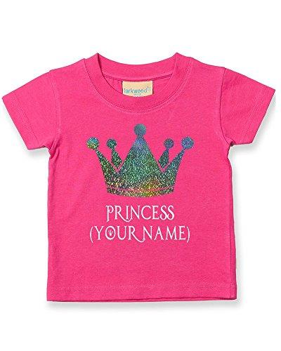 Camiseta personalizada de princesa con corona para bebé, para niños (correo electrónico el nombre que quieras) Rosa Fushia 2-3 Años
