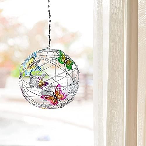 APCHY Solbelysning hängande nätklot med färgglada fjärilar, solcellslampor trädgårdslampor, hängande utomhuslampor för trädgård gård uteplats högtidsdekoration